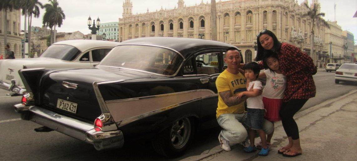 A family from colombia on a winter day in old Havana