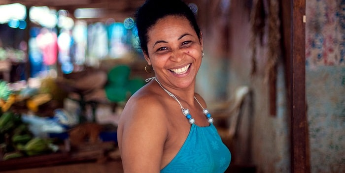 A cuban woman smiling