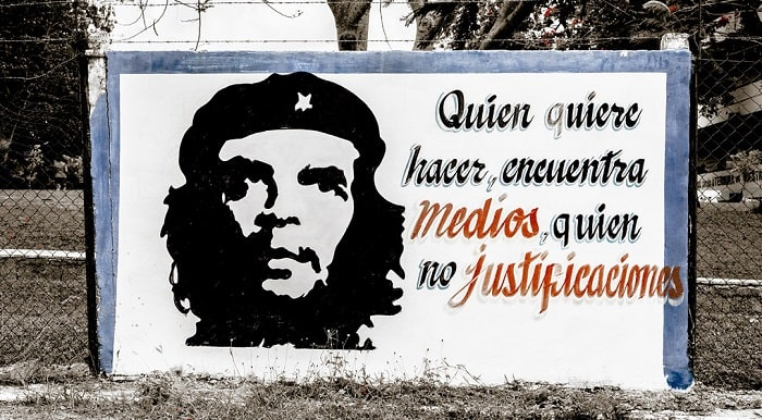 A paint of El Che on a Street in Havana Cuba