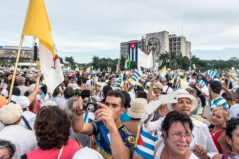 Crowd in Modern Havana by Plaza de la Revolucion - Featured