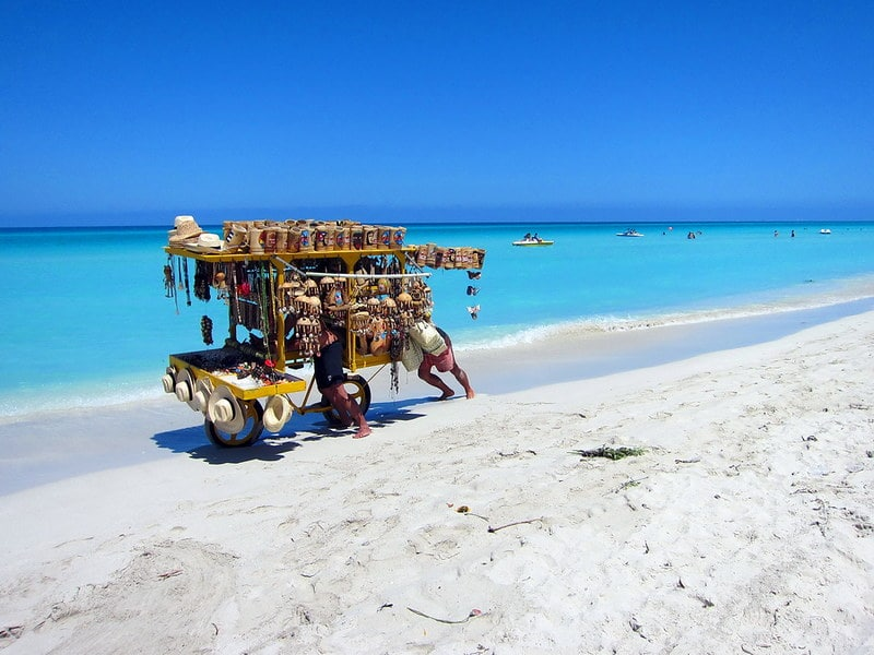Varadero Beach with an street Seller